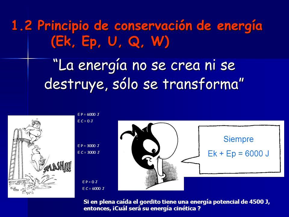 1.2 Principio de conservación de energía (Ek, Ep, U, Q, W)