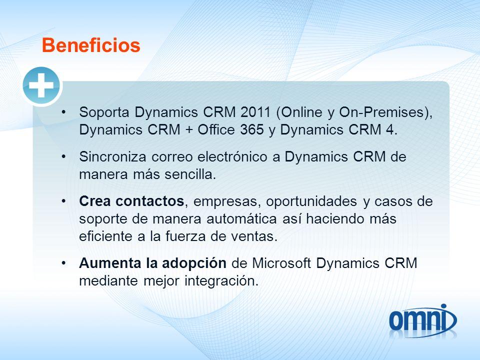 09/18/09Beneficios. Soporta Dynamics CRM 2011 (Online y On-Premises), Dynamics CRM + Office 365 y Dynamics CRM 4.