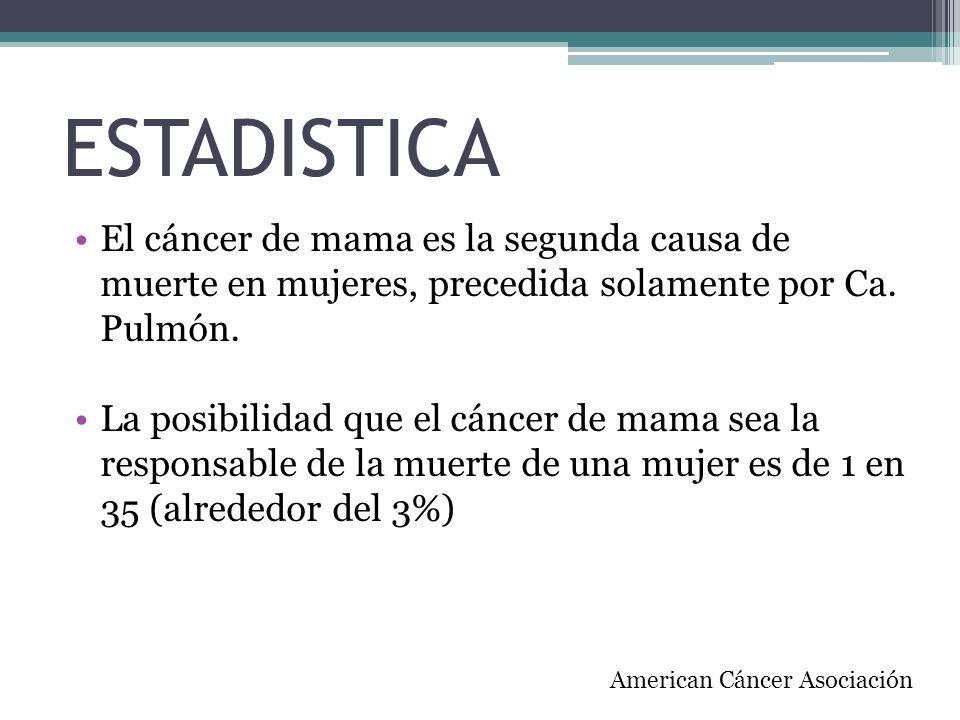 ESTADISTICA El cáncer de mama es la segunda causa de muerte en mujeres, precedida solamente por Ca. Pulmón.