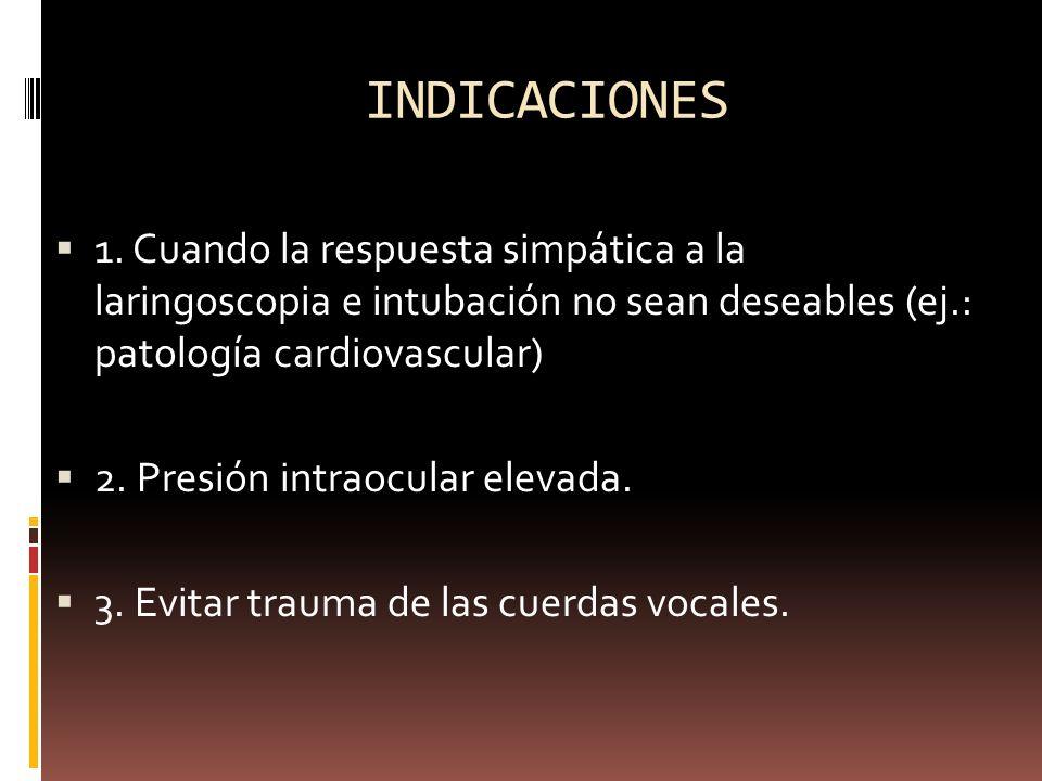 INDICACIONES1. Cuando la respuesta simpática a la laringoscopia e intubación no sean deseables (ej.: patología cardiovascular)