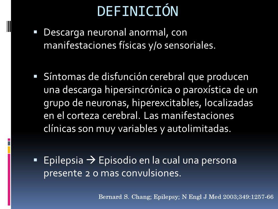DEFINICIÓNDescarga neuronal anormal, con manifestaciones físicas y/o sensoriales.