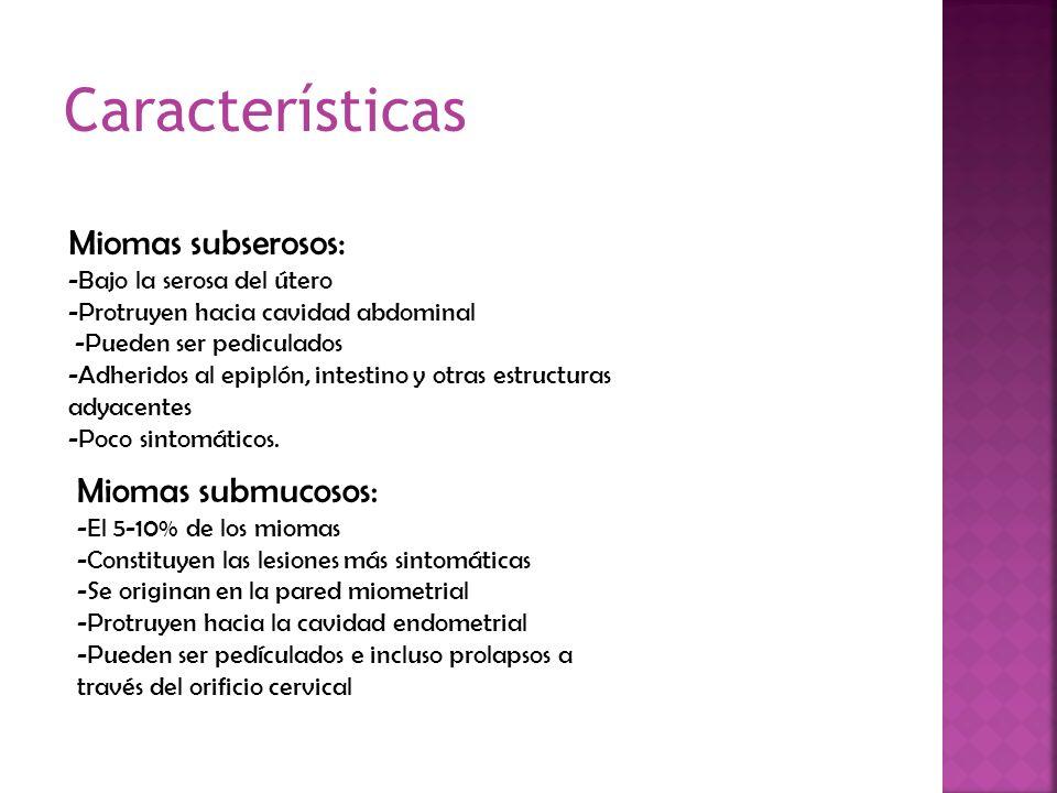 Características Miomas subserosos: Miomas submucosos:
