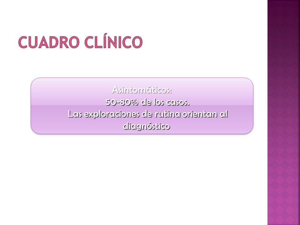 Cuadro clínico Asintomáticos: 50-80% de los casos.