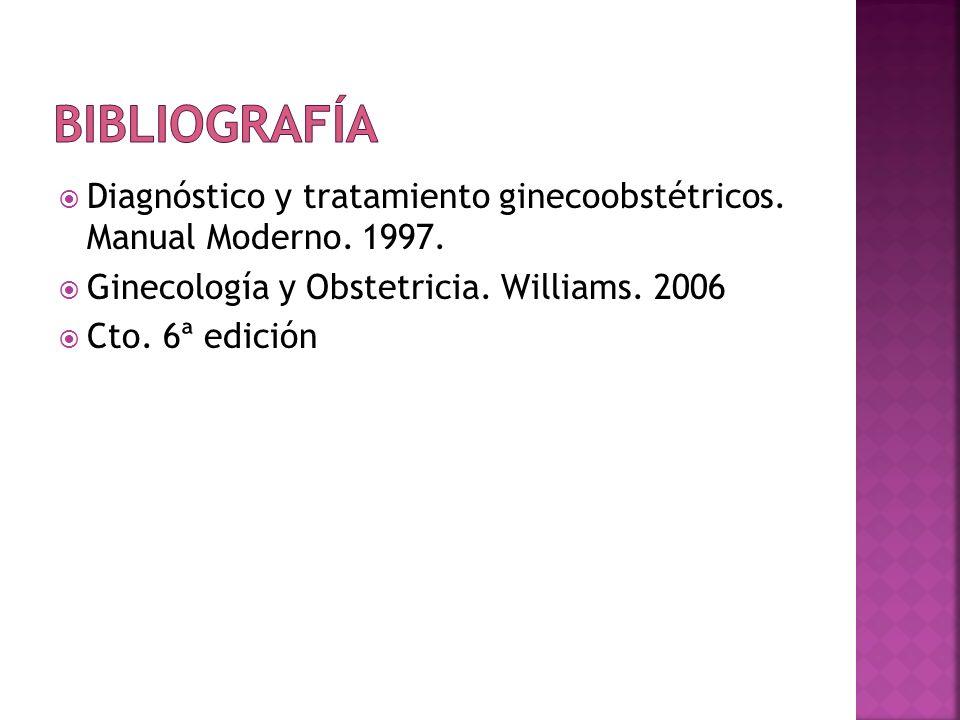 BibliografíaDiagnóstico y tratamiento ginecoobstétricos. Manual Moderno. 1997. Ginecología y Obstetricia. Williams. 2006.
