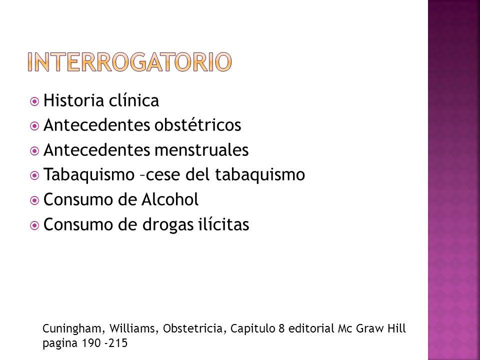 INTERROGATORIO Historia clínica Antecedentes obstétricos