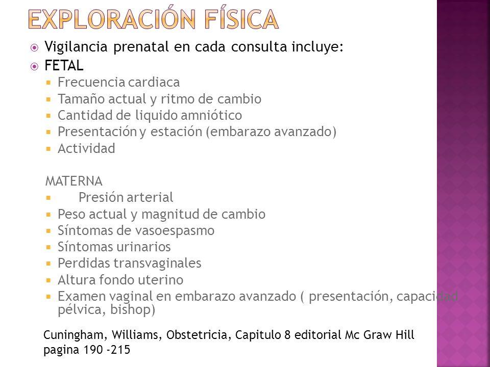 Exploración física Vigilancia prenatal en cada consulta incluye: FETAL