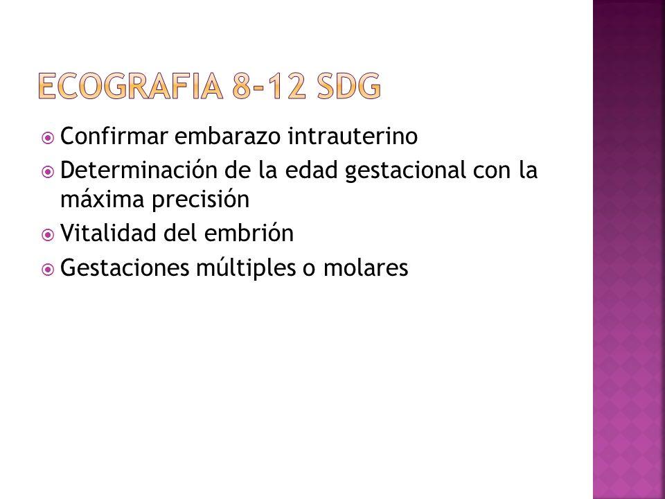 ECOGRAFIA 8-12 SDG Confirmar embarazo intrauterino