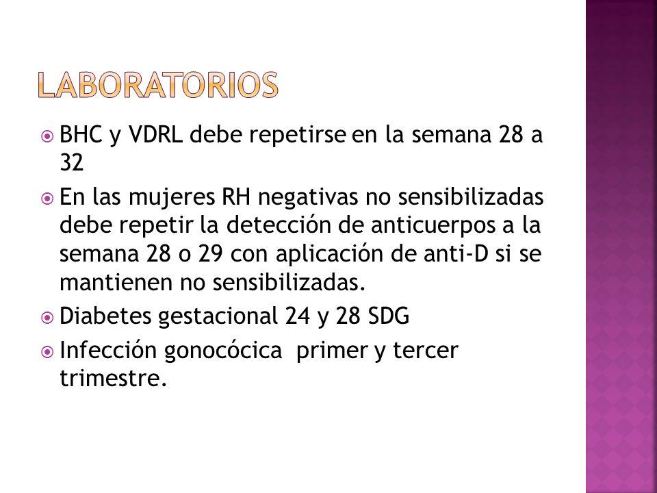 laboratorios BHC y VDRL debe repetirse en la semana 28 a 32