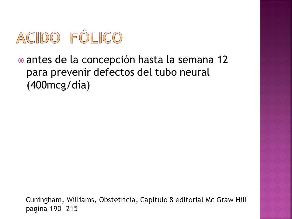 Acido fólico antes de la concepción hasta la semana 12 para prevenir defectos del tubo neural (400mcg/día)