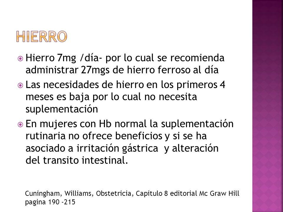 hierroHierro 7mg /día- por lo cual se recomienda administrar 27mgs de hierro ferroso al día.