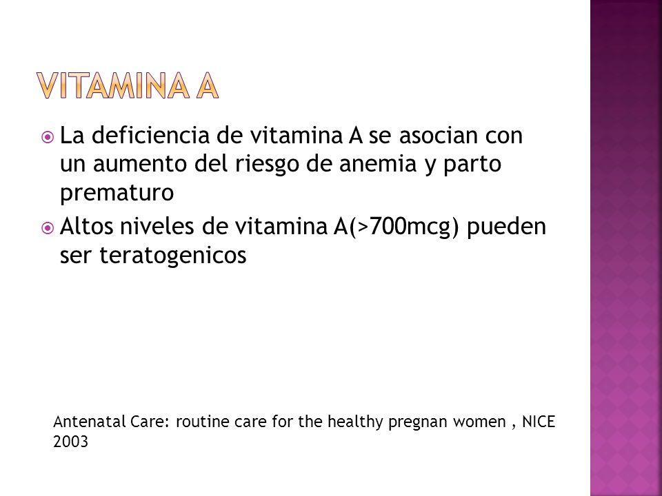 Vitamina ALa deficiencia de vitamina A se asocian con un aumento del riesgo de anemia y parto prematuro.