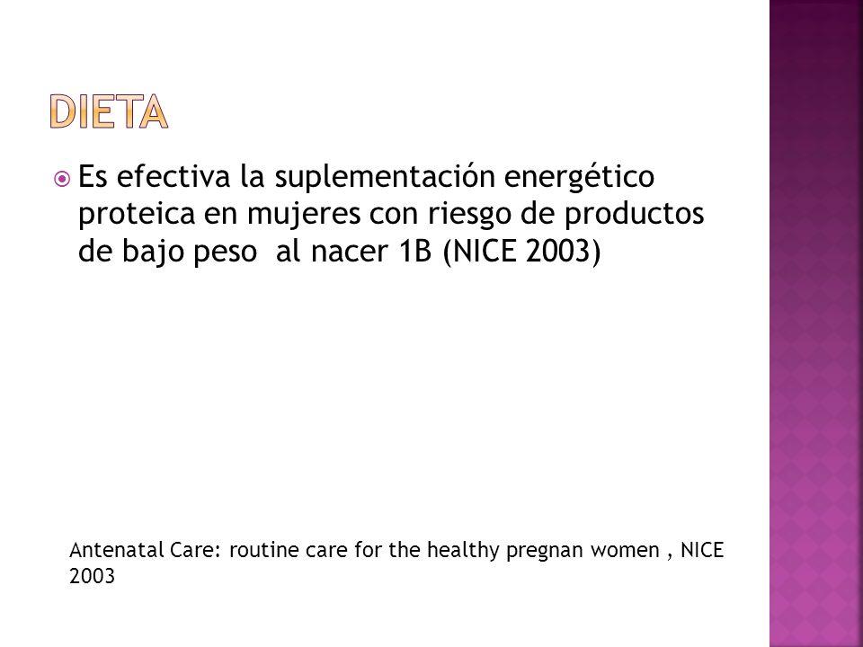Dieta Es efectiva la suplementación energético proteica en mujeres con riesgo de productos de bajo peso al nacer 1B (NICE 2003)