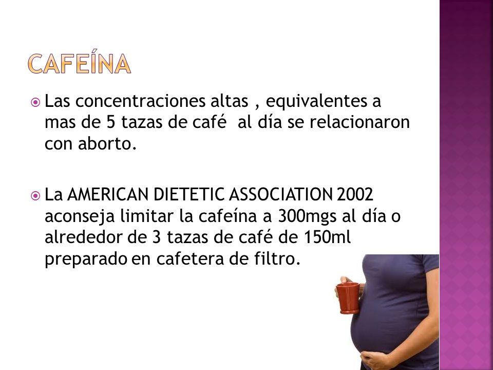 cafeínaLas concentraciones altas , equivalentes a mas de 5 tazas de café al día se relacionaron con aborto.