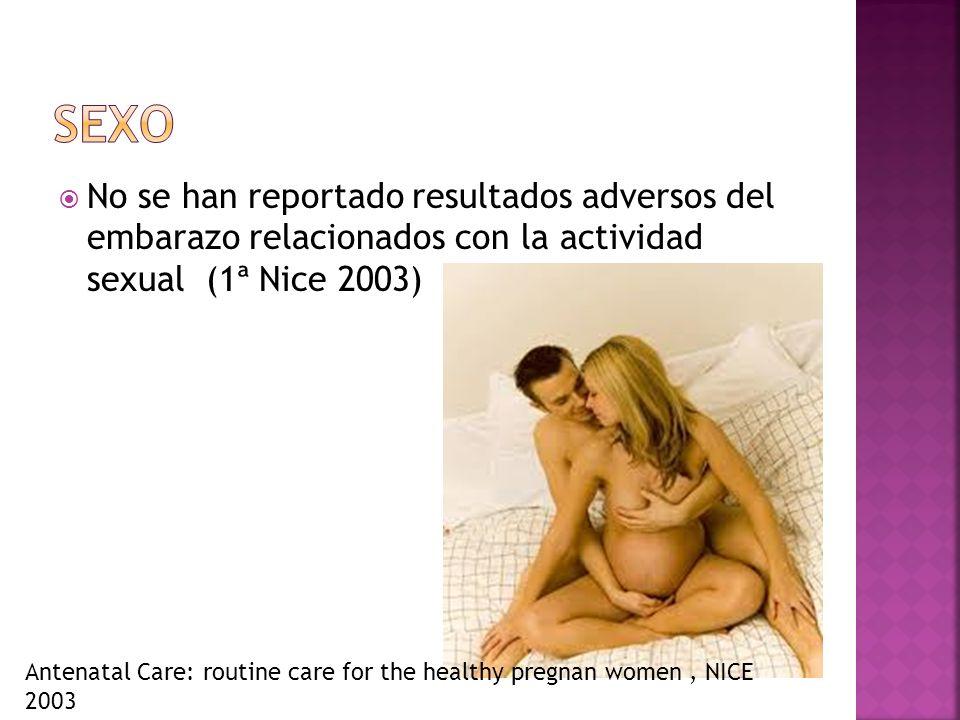 Sexo No se han reportado resultados adversos del embarazo relacionados con la actividad sexual (1ª Nice 2003)