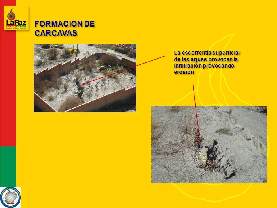 FORMACION DE CARCAVAS La escorrentía superficial de las aguas provocan la infiltración provocando erosión.