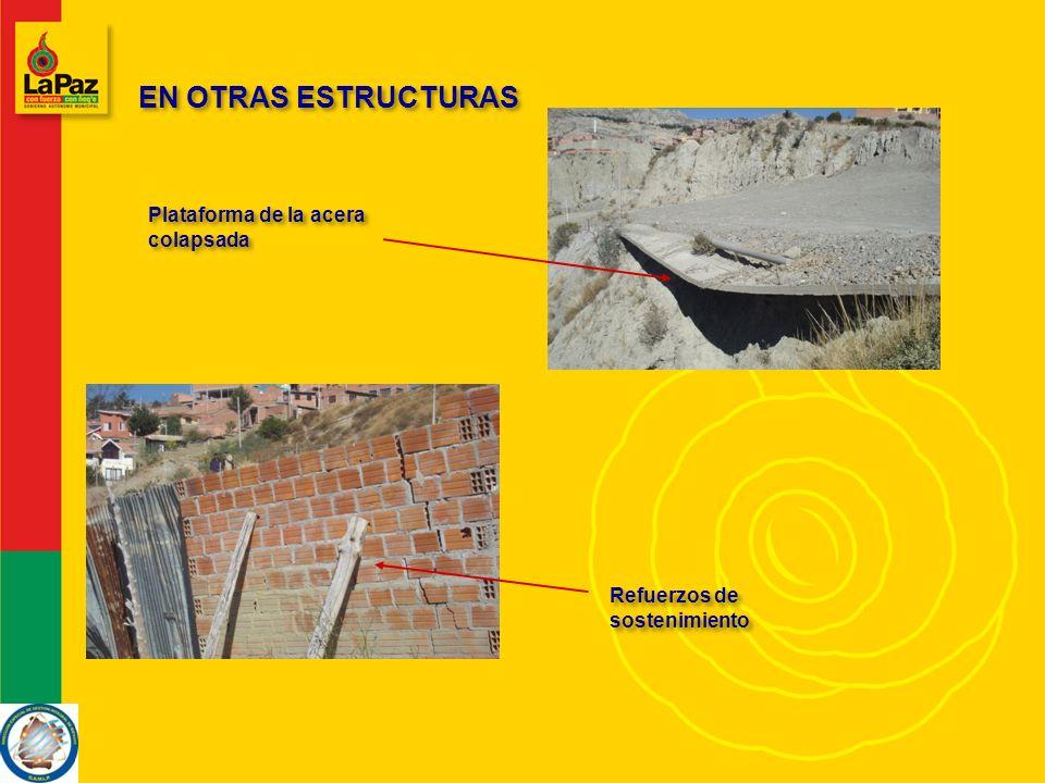 EN OTRAS ESTRUCTURAS Plataforma de la acera colapsada