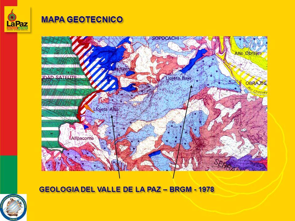 MAPA GEOTECNICO GEOLOGIA DEL VALLE DE LA PAZ – BRGM - 1978
