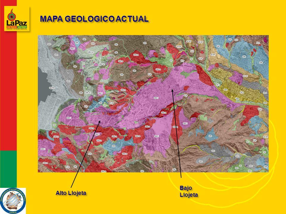 MAPA GEOLOGICO ACTUAL Bajo Llojeta Alto Llojeta