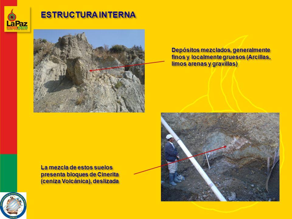 ESTRUCTURA INTERNA Depósitos mezclados, generalmente finos y localmente gruesos (Arcillas, limos arenas y gravillas)