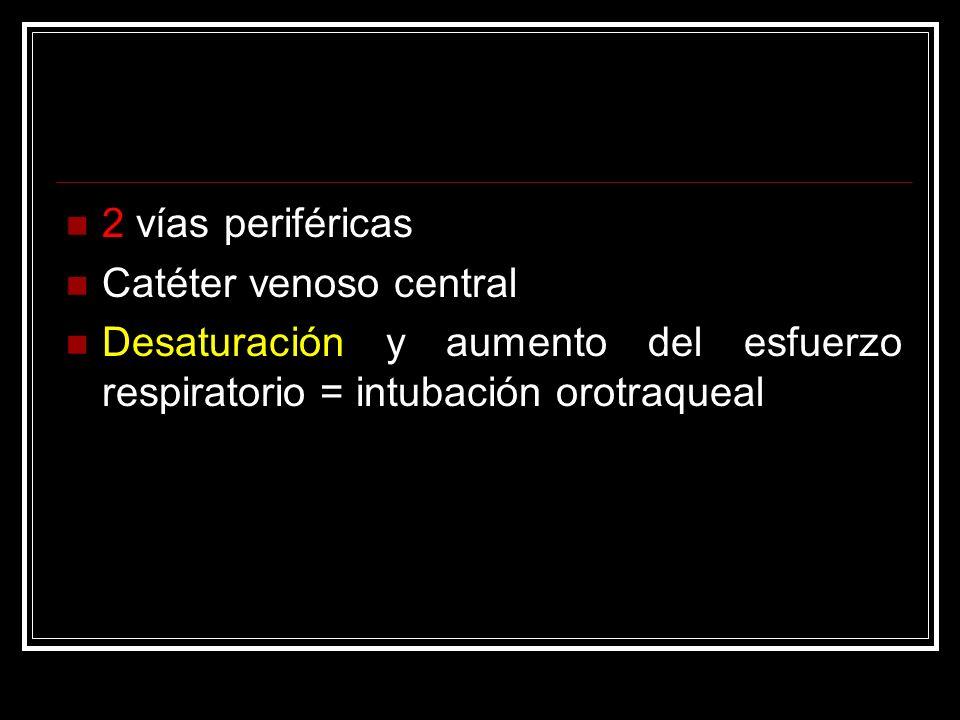 2 vías periféricas Catéter venoso central.