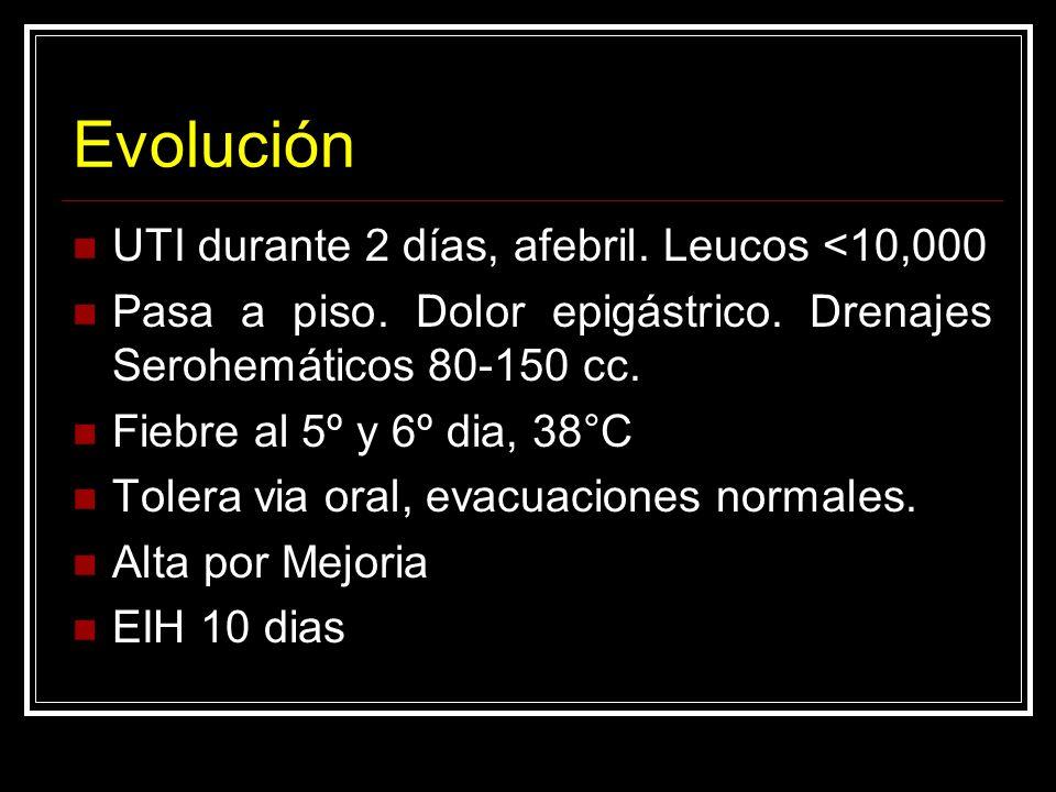 Evolución UTI durante 2 días, afebril. Leucos <10,000