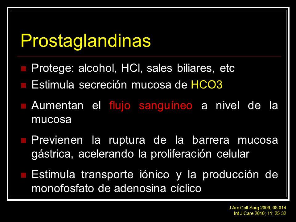 Prostaglandinas Protege: alcohol, HCl, sales biliares, etc