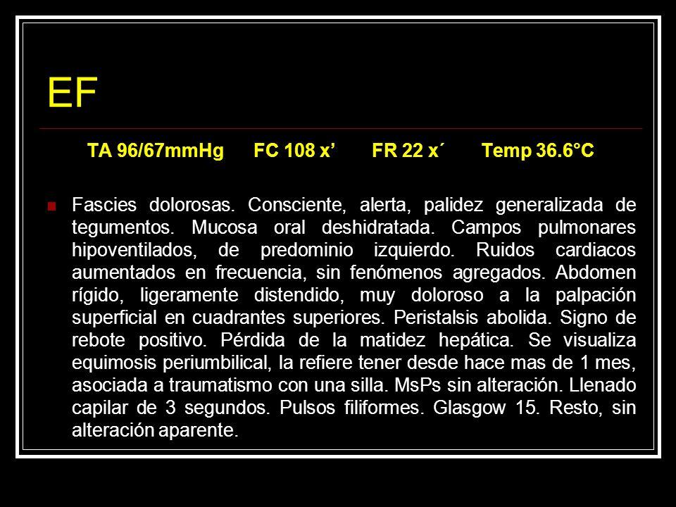 TA 96/67mmHg FC 108 x' FR 22 x´ Temp 36.6°C