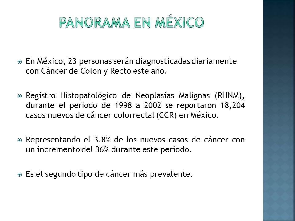 PANORAMA EN MÉXICO En México, 23 personas serán diagnosticadas diariamente con Cáncer de Colon y Recto este año.