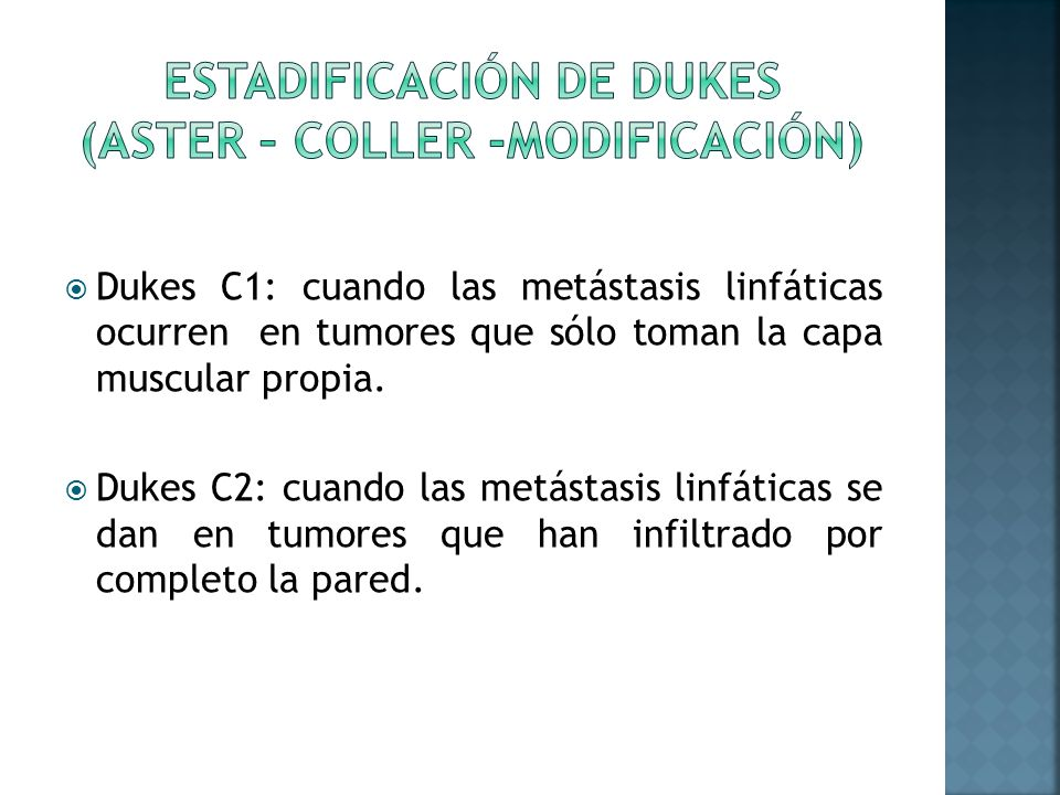 Estadificación DE DUKES (ASTER – COLLER -Modificación)