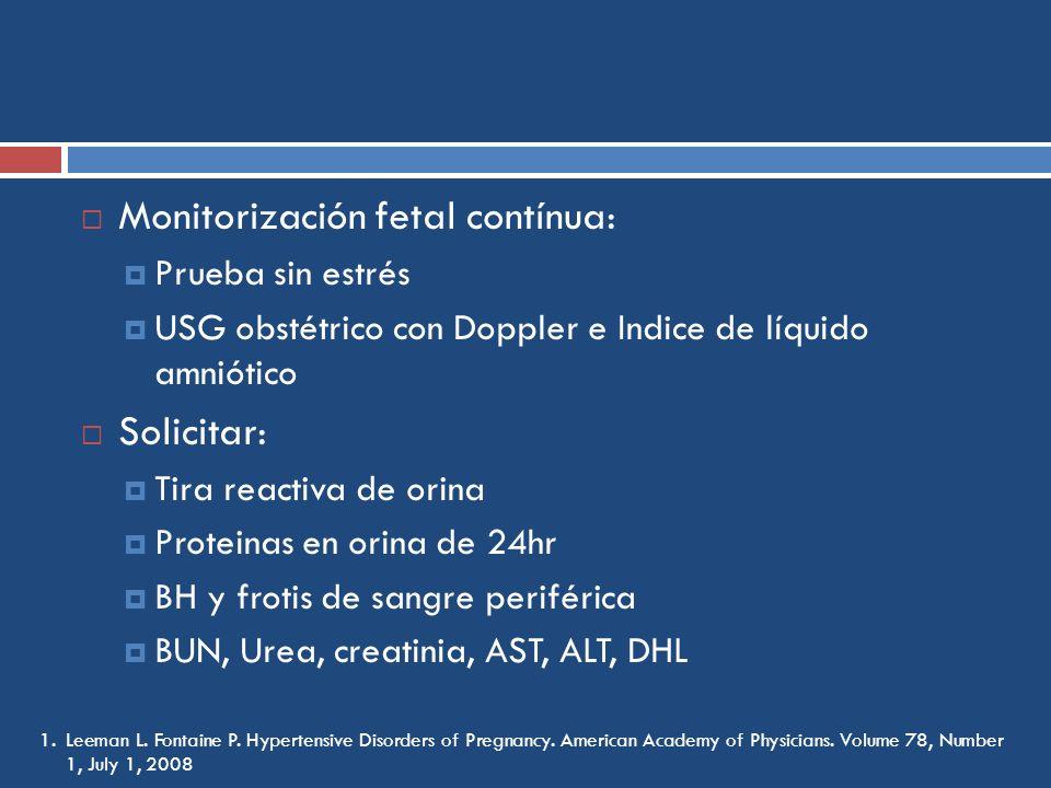 Monitorización fetal contínua: