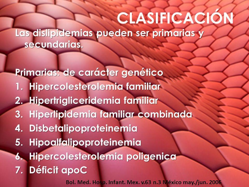 CLASIFICACIÓN Las dislipidemias pueden ser primarias y secundarias.