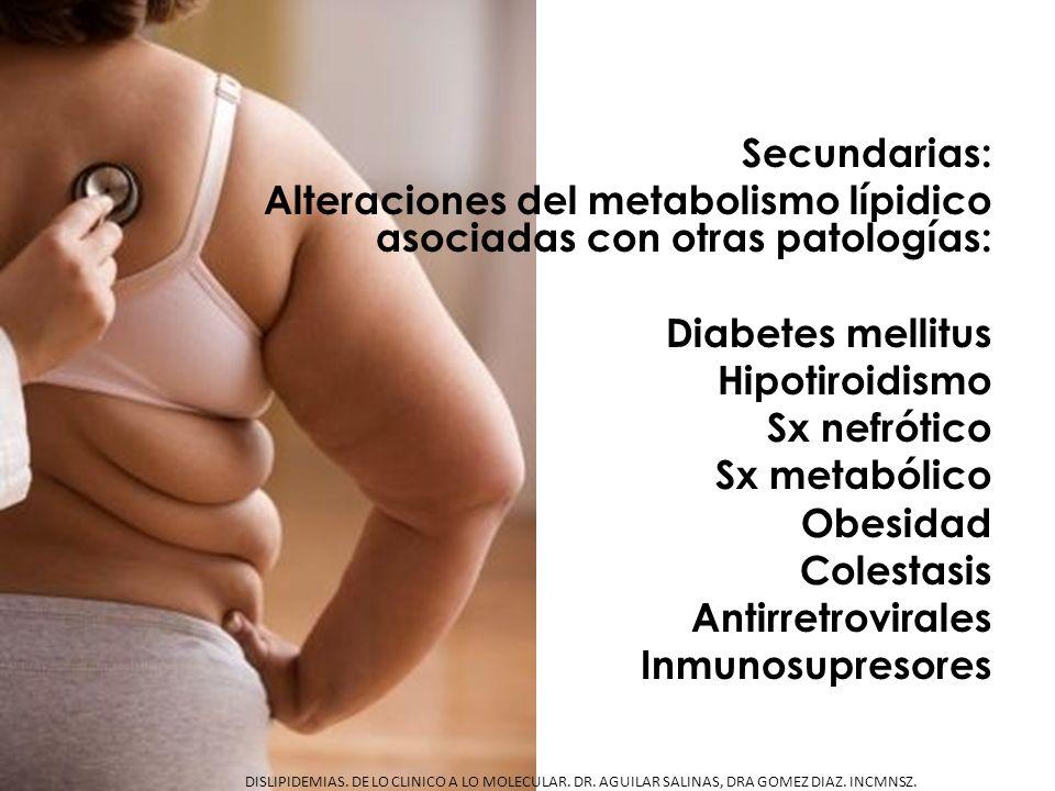 Secundarias: Alteraciones del metabolismo lípidico asociadas con otras patologías: Diabetes mellitus Hipotiroidismo Sx nefrótico Sx metabólico Obesidad Colestasis Antirretrovirales Inmunosupresores