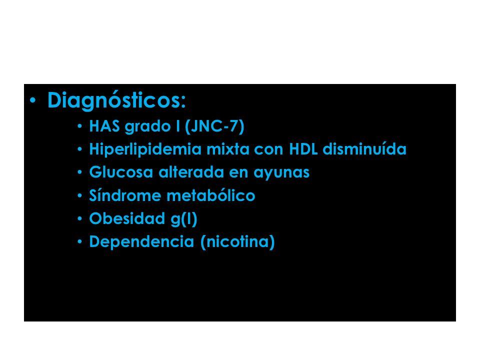 Diagnósticos: HAS grado I (JNC-7)