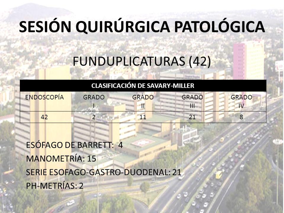 SESIÓN QUIRÚRGICA PATOLÓGICA CLASIFICACIÓN DE SAVARY-MILLER