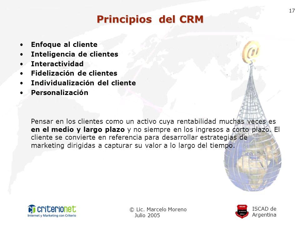 Principios del CRM Enfoque al cliente Inteligencia de clientes