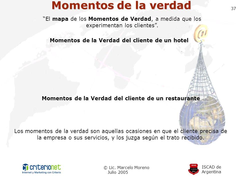 Momentos de la verdad 37. El mapa de los Momentos de Verdad, a medida que los experimentan los clientes .