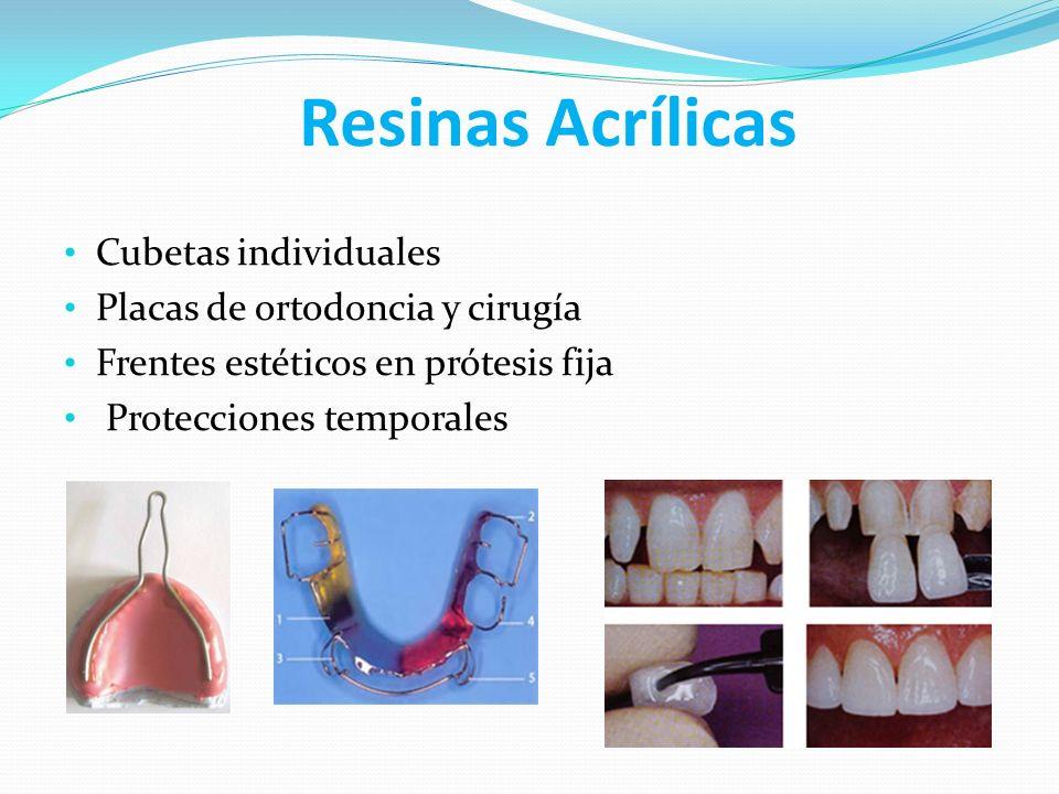 Resinas Acrílicas Cubetas individuales Placas de ortodoncia y cirugía