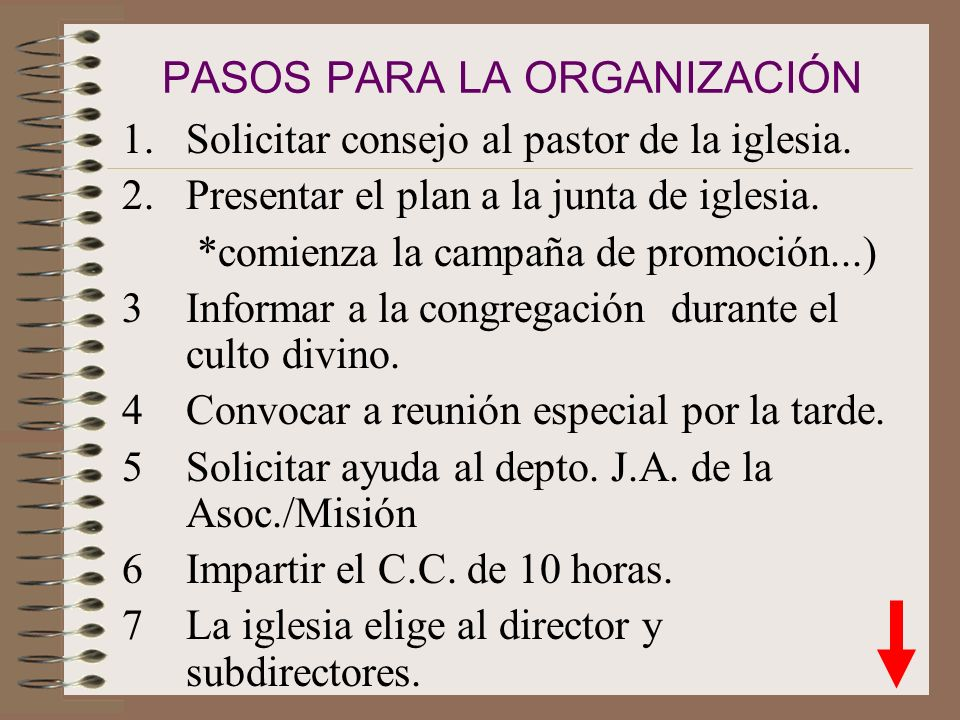 PASOS PARA LA ORGANIZACIÓN
