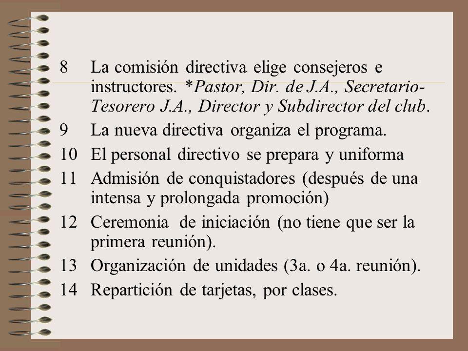 La comisión directiva elige consejeros e instructores. Pastor, Dir