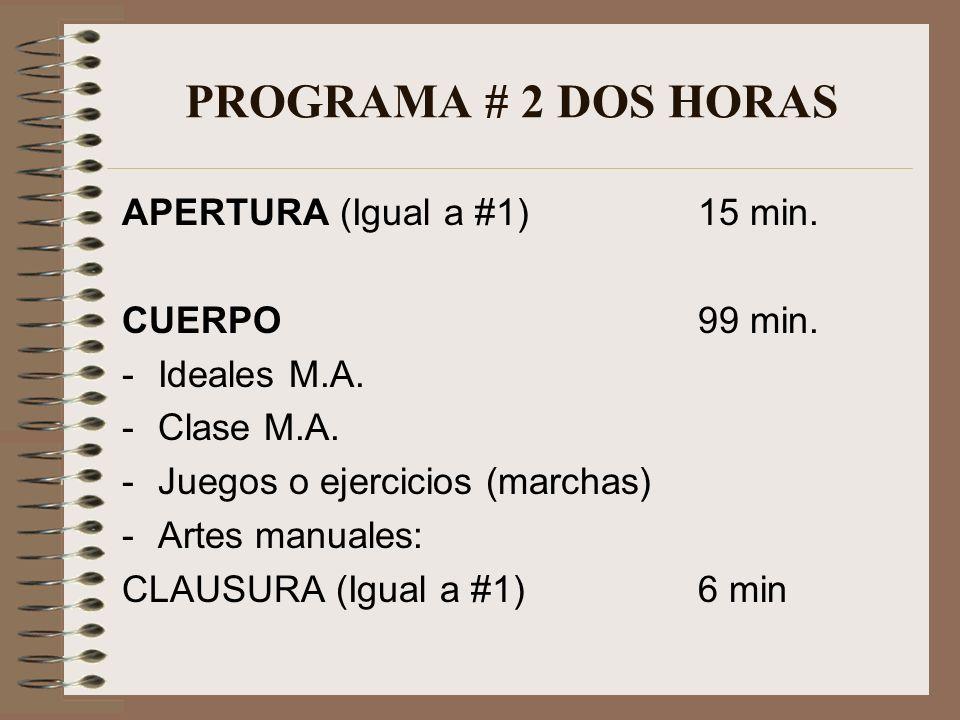 PROGRAMA # 2 DOS HORAS APERTURA (Igual a #1) 15 min. CUERPO 99 min.