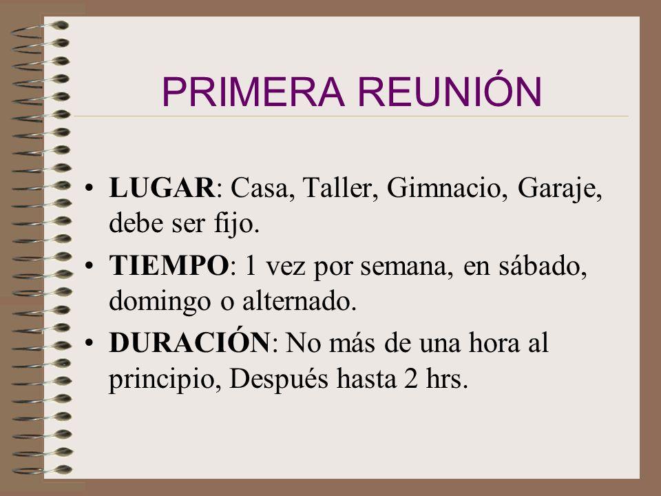 PRIMERA REUNIÓN LUGAR: Casa, Taller, Gimnacio, Garaje, debe ser fijo.