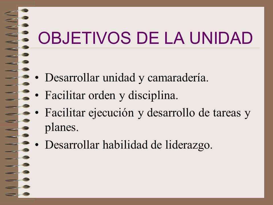 OBJETIVOS DE LA UNIDAD Desarrollar unidad y camaradería.