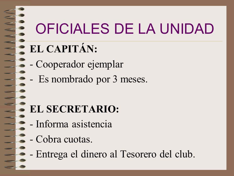 OFICIALES DE LA UNIDAD EL CAPITÁN: - Cooperador ejemplar