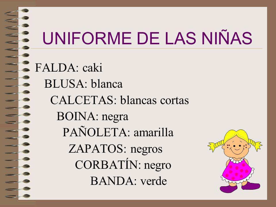 UNIFORME DE LAS NIÑAS FALDA: caki BLUSA: blanca