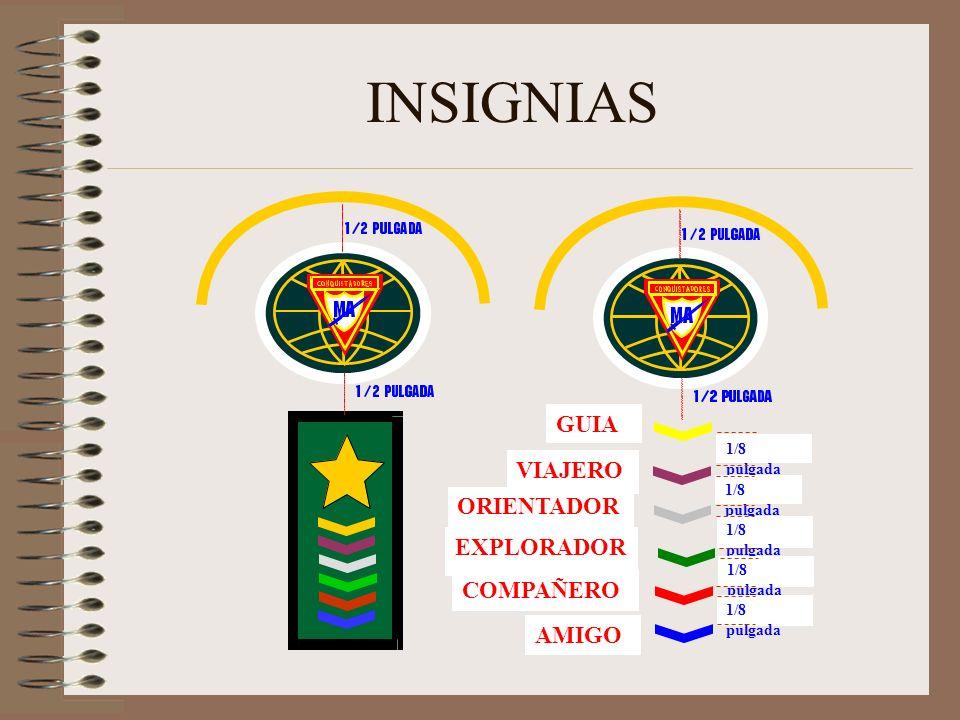 INSIGNIAS GUIA VIAJERO ORIENTADOR EXPLORADOR COMPAÑERO AMIGO
