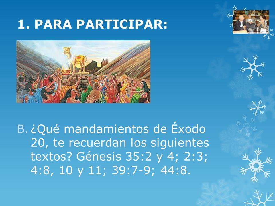 1. PARA PARTICIPAR: ¿Qué mandamientos de Éxodo 20, te recuerdan los siguientes textos.