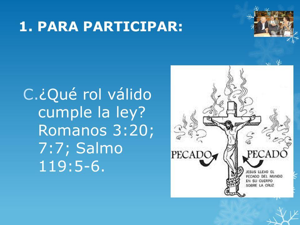 ¿Qué rol válido cumple la ley Romanos 3:20; 7:7; Salmo 119:5-6.