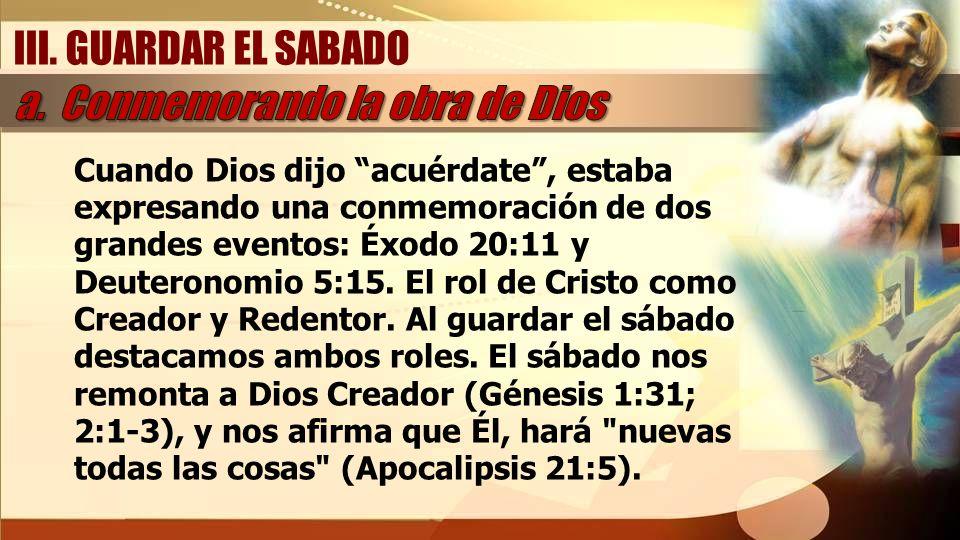 a. Conmemorando la obra de Dios