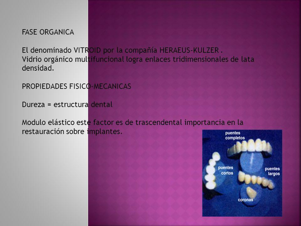 FASE ORGANICA El denominado VITROID por la compañía HERAEUS-KULZER . Vidrio orgánico multifuncional logra enlaces tridimensionales de lata densidad.