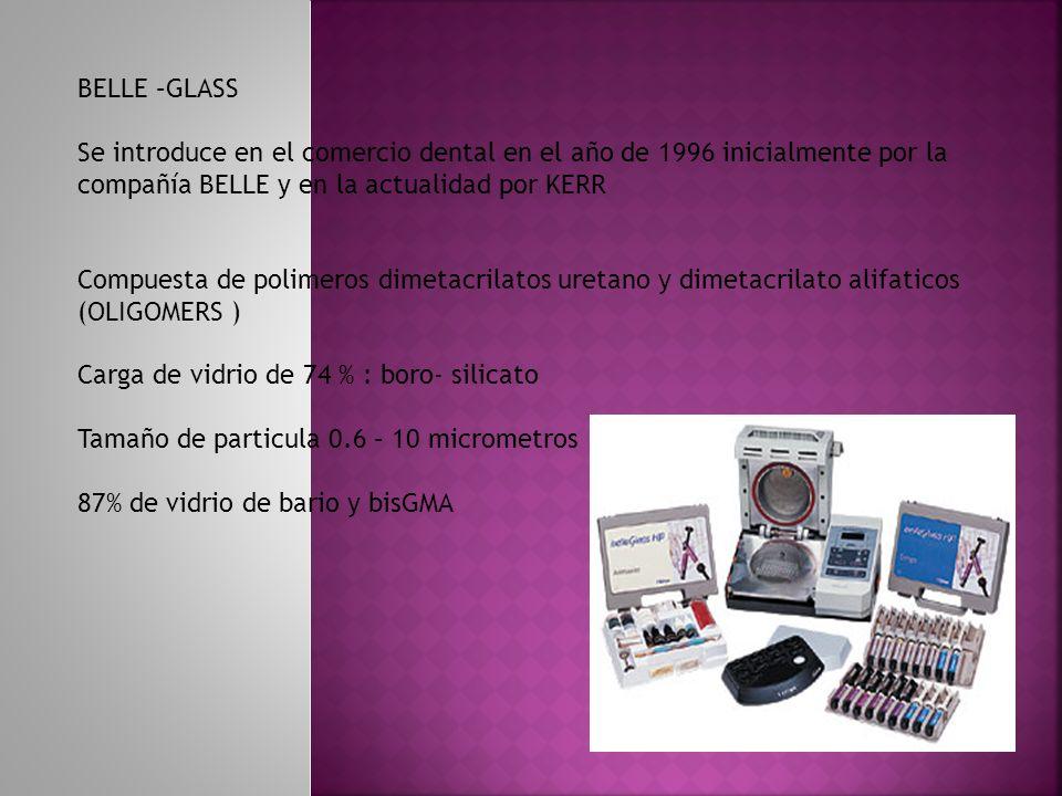 BELLE –GLASS Se introduce en el comercio dental en el año de 1996 inicialmente por la compañía BELLE y en la actualidad por KERR.
